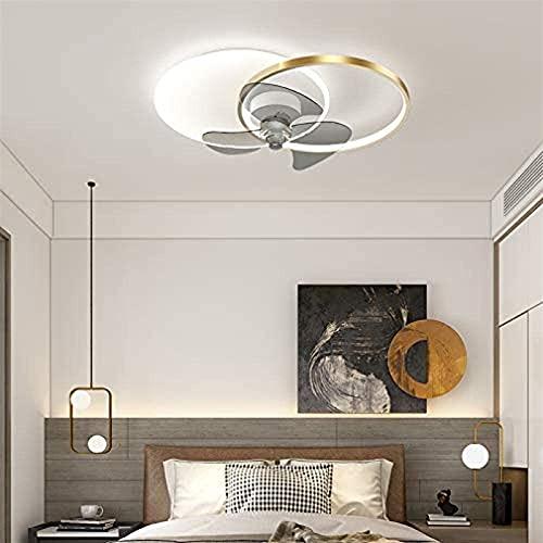 LED ventiladores de techo con lámparas con control remoto 6-veloz silencioso y regulable con ventiladores de temporizador Luces de techo para sala de estar Habitación para niños (Color : Golden)