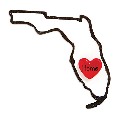 Personalized Florida Christmas Ornament - State with Home Heart Miami South Beach Disney World Orlando Key West Holiday Travel Tourist Away Souvenir Love First Visit - Free Customization by Elves