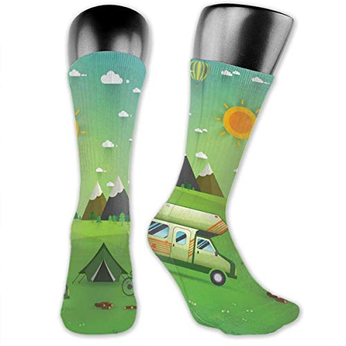 Papalikz Compression Medium Calf Socks,Family Caravan With Bicycle And Balloons Outdoors Mountain Landscape Cartoon