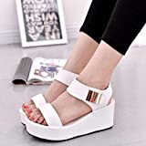 DQS 2021 Nuevas Sandalias para Mujer, Zapatos de Verano para Mujer, Sandalias de Plataforma con cuñas, Sandalias de Roma con Boca de pez, Zapatos Blancos y Negros para Mujer