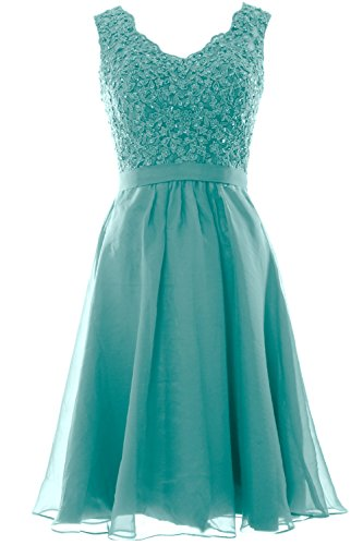 MACloth Women V Neck Vintage Lace Chiffon Short Prom Dresses Wedding Party Gown (58, Turquoise)