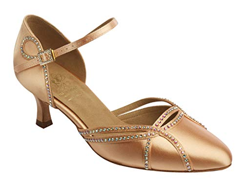 Supadance Style 1542 - Diamante Flesh Satin Damen Tanzschuhe - Geschlossene Zehe Sandale mit Swarovski-Kristallen, Flesh Satin, Flesh - Größe: 36.5