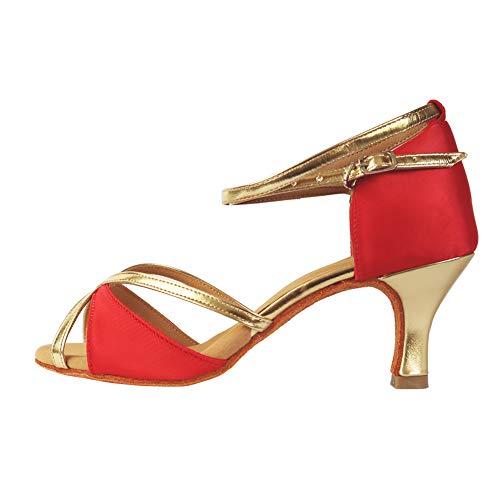 TRIWORIAE-Zapatos Baile Latino Tacón Alto/Medio Mujer