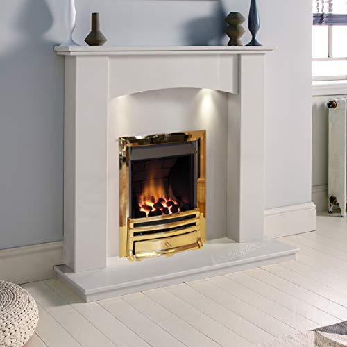 White Marble Stone Modern Curved Wall Surround Gas Fireplace Suite Brass Inset Gas Fire with Downlights