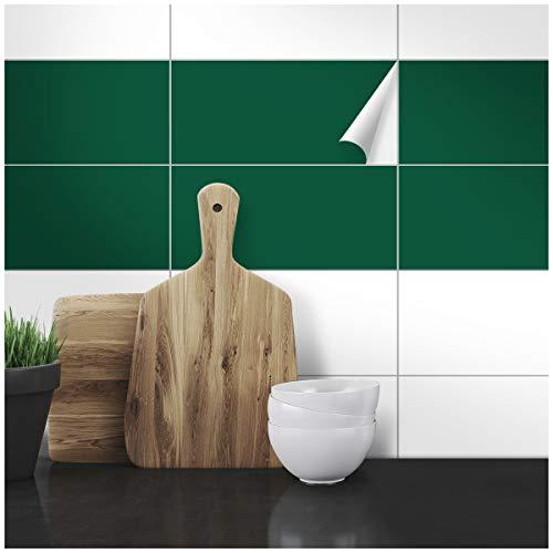 Wandkings Fliesenaufkleber - Wähle eine Farbe & Größe - Dunkelgrün Seidenmatt - 14,5 x 24,5 cm - 20 Stück für Fliesen in Küche, Bad & mehr