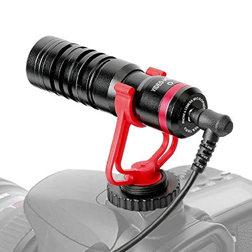 Tendak VideoMicro Micrófono de Condensador, Micrófono universalUniversal Micrófono Compacto Cardioide para Videocámaras de 3,5 mm para Video/Cámara Canon EOS/Nikon Digital SLR/Android Móvil/Mac Tablet