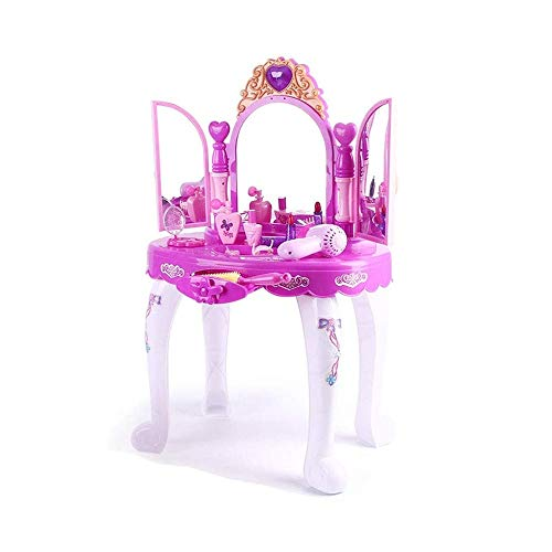 DWLXSH Girls Vanity Dressing Table Playset with Glamour Mirror,Glamorous Princess Pretend Vanity Desk with Stool Mirror Hair Dryer Best Gift for Girls for Boys Child