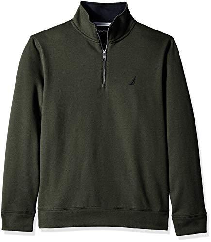Nautica Men's Solid 1/4 Zip Fleece Sweatshirt, Moss Heather, Medium