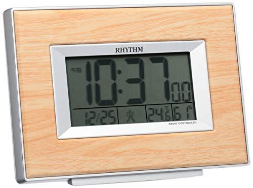 リズム(RHYTHM) 目覚まし時計 電波 デジタル フィットウェーブD174 温度 ・ 湿度 カレンダー 付き 茶 (薄茶木目調) RHYTHM 8RZ174SR07