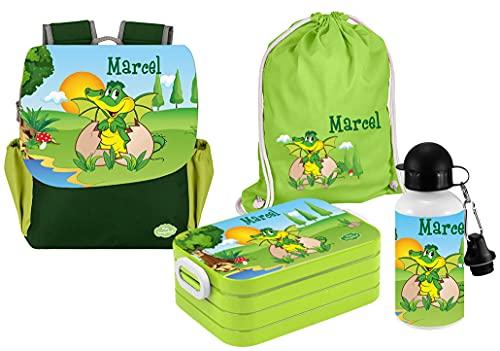 Mein Zwergenland | Personalisertes Kindergartenrucksack-Set | Kinderrucksack, Lunchbox Maxi, Turnbeutel aus Baumwolle, Trinkflasche Happy Knirps Next Print mit Name | Grün | Dino