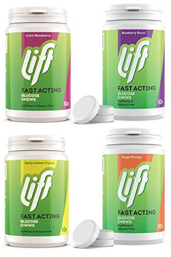 Lift Glucose Chews Mixed Case 4 x 50's Tubs Glucose Tablets *Orange, Raspberry, Blueberry & Lime*