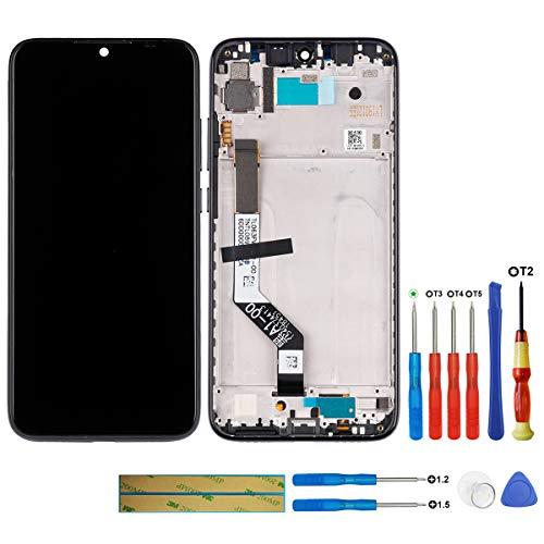 swark Pantalla LCD compatible con Xiaomi Redmi Note 7 (negro + marco), pantalla táctil digitalizador, cristal de montaje + herramientas