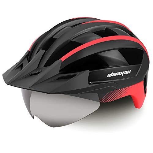 Shinmax Casco Bicicleta Carretera Casco Seguridad CE Stándar/Casco de Escalada Ajustable con USB Luz de Seguridad y Visera extraíble y Gafas de Montaña Magnéticas para Hombres y Mujeres Adultos ⭐