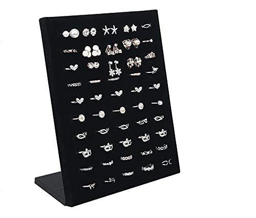 hongruida Organizador de almacenamiento de joyería en forma de L de terciopelo de 50 agujeros, organizador de joyería, pendientes de broche, estante de exhibición (color: rosa rojo)