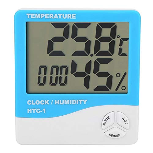 Kuuleyn Higrómetro Digital Termómetro Interior, ANENG HTC-1 LCD Termómetro Digital Higrómetro Temperatura Interior Medidor de Humedad Reloj(Azul)