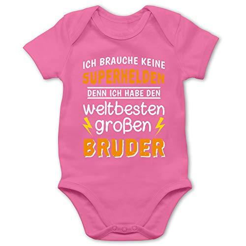 Shirtracer Geschwisterliebe Baby - Ich Habe den weltbesten großen Bruder - 1/3 Monate - Pink - Kleiner Bruder großer Bruder - BZ10 - Baby Body Kurzarm für Jungen und Mädchen