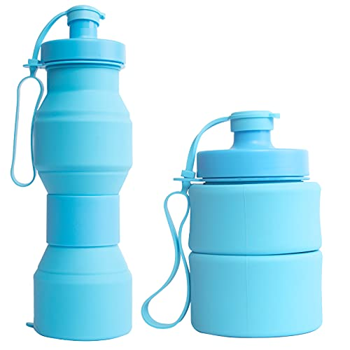 RYHX Botella De Agua Plegable De 800 Ml, Botella De Agua Deportiva, Botella De Agua A Prueba De Fugas, Tritan De PláStico Sin Bpa, Botella De Agua Reutilizable, para Acampar, Adultos, NiñOs,Escalada