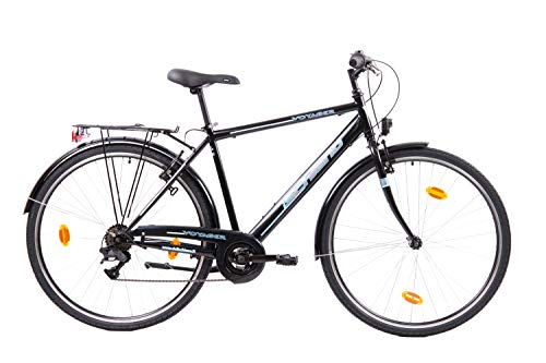 F.lli Schiano Voyager, Bici Trekking Uomo, Nero-Blu, 28''