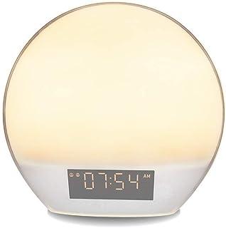 LED bedside alarm clock multi-function wake-up smart sensor night light humidity measurement radio home bedroom dimming to...