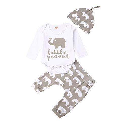 Newborn Unisex Baby Elephant Hoodie Top Pants with Pocket Outfit Fall Winter Clothes (Little Peanut-Grey, 0-3 Months)
