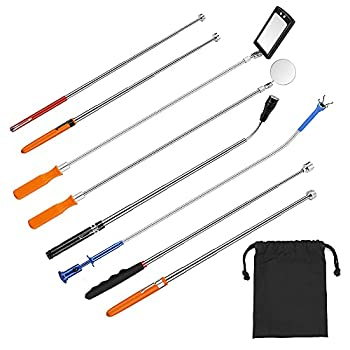 8PCS Magnetic Telescoping Pickup Tool,Flexible Magnet Stick Kit with Adjustable Inspection Mirror and Flexible LED Flashlight,Pick Up Rod,Magnet Pick Up Gadget Tool,Gift for Men,Father's Day