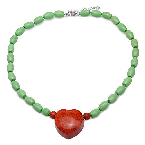 Collar de Turquesa JYX de 9 × 12 mm. Las Cuentas de Turquesa ovaladas Verdes Tienen un Colgante de Coral Rojo de 30 × 31 mm en Forma de corazón.
