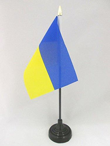 AZ FLAG TISCHFLAGGE Ukraine 15x10cm goldene splitze - UKRAINISCHE TISCHFAHNE 10 x 15 cm - flaggen