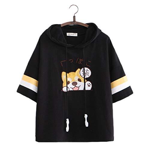 Damen Kawaii T-Shirts Cute Puppy Bestickt Pullover Kapuzenpullover Top Tees Kurzarm T-Shirt Bluse Gr. One size, Schwarz