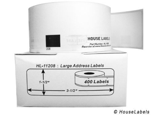 "1 Roll; 400 Labels per Roll of HouseLabels Compatible with Brother DK-1208 Large Address Labels (1-1/2"" x 3-1/2""; 38mm90mm) - BPA Free!"