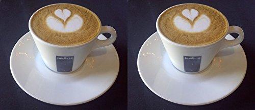 2 X Lavazza 5.5oz Cappuccino Porzellan Tassen und Untertassen.
