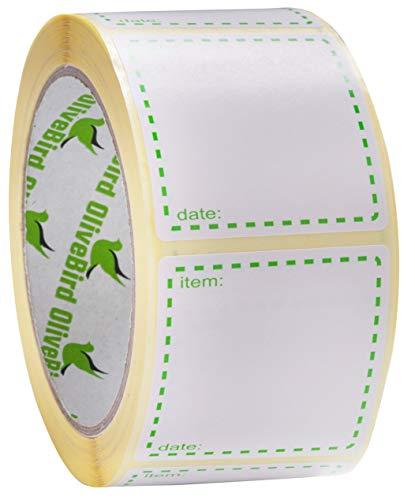 500 x Gefrieretiketten auf Rolle, Selbstklebend Haushaltsetiketten, Größe 50x50mm Datum Etiketten