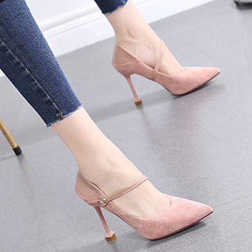 HRCxue zapatos de la Corte zapatos de tacón Alto, zapatos de tacón de Aguja para mujer, zapatos de mujer en Punta, Color Caramelo, Hebilla, zapatos Sexy.