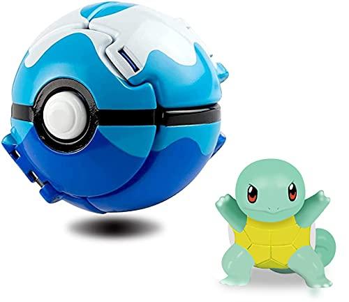 Poké Bolas Pokéball,Pokémon Pokéball,Ball figuritas Poké Bolas Pokéball,Throw figuritas Ball Toy Set,para Niños y Adultos Fiesta de Regalo (Squirtle)