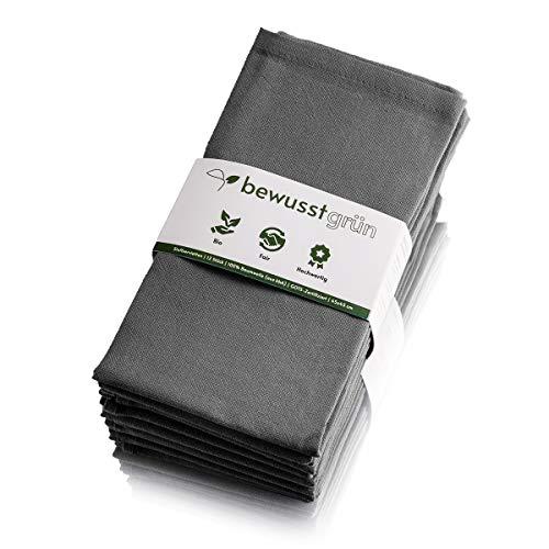 BewusstGrün I 12 Faire & Nachhaltige Stoffservietten I 100% Bio-Baumwolle I 45x45 cm Grau