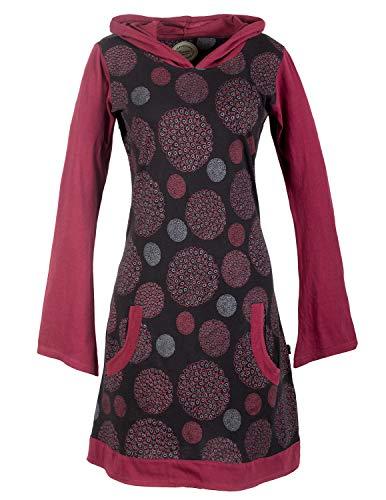 Vishes - Alternative Bekleidung - Langarm Damen Hippie Baumwollkleid mit Zipfelkapuze und Taschen schwarz 46