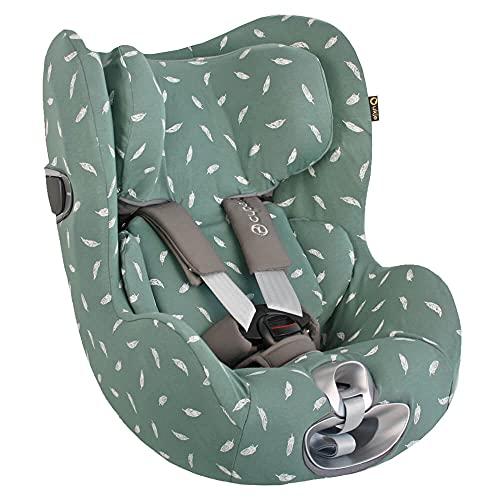 Cybex Sirona Z Bezug für Babyschale Jade Federn Perfekte Passform Öko-Tex Baumwolle Schweißabsorbierend und weich für Ihr Baby