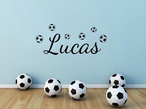 Adhesivo decorativo para pared, diseño de nombre con texto en inglés 'Fútbol', color negro, talla XXL, 135 cm de ancho x 75 cm de alto, 6