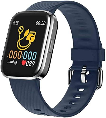 QIXIAOCYB Rastreador de Fitness Smartwatch Impermeable con Cuchillo de frecuencia cardíaca/oxímetro de Pulso/Monitor de oxígeno de Sangre/Monitor de presión Arterial Negro (Color : Blue)