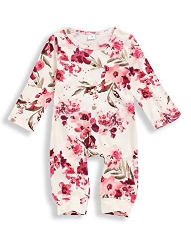 Babykleidung Blumenspielanzug Neugeborenes Mädchen Overall mit Stirnband Outfit Set