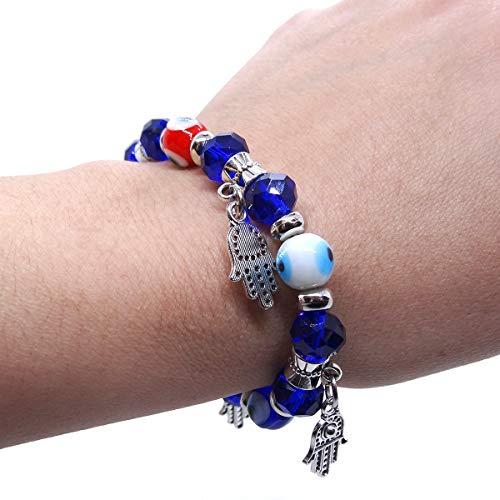 Pulseira Feminina Olho Grego e Mão de Fátima Mão Hamsá Azul