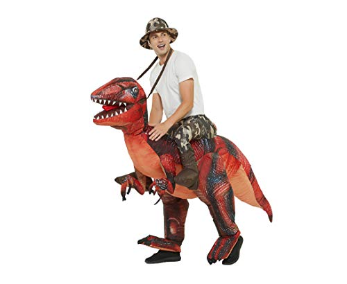 GOOSH Inflatable Dinosaur Costume Riding a T-REX Air Blow-up Deluxe Halloween Costume Red (55 INCH...
