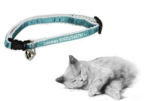Personalisiertes Katzenhalsband blau, bedruckt mit Namen & Telefonnummer für ihren Liebling