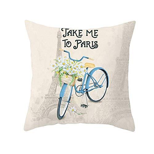 Fundas de Cojines Funda de Cojín Flor de bicicleta Cojines Decoracion Terciopelo Suave Fundas de Almohada Cuadrado para Sofá Cama Sillas Coche Dormitorio Decorativo Hogar M403 Pillowcase,40x40cm
