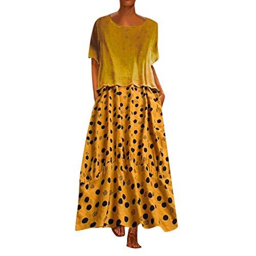 VEMOW Faldas Mujer Vestido Tops O-Cuello de la Vendimia del Punto de la impresión del Dos Piezas del Vestido Maxi Flojo Vestido