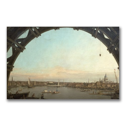 London Through an Arch of Westminster by Canaletto, 30x47-Inch Canvas Wall Art