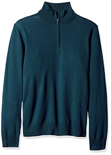 Amazon Brand - Goodthreads Men's Lightweight Merino Wool Quarter Zip Sweater, deep Teal, Large