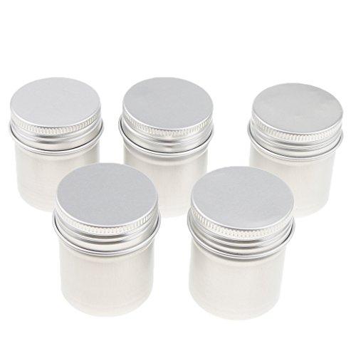 Homyl 5 Pcs 50ML Pot Vide en Aluminium Récipient Cosmétique avec Couvercle pour Échantillon de Crèmes Stockage de Maquillage