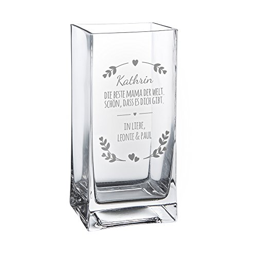 Casa Vivente Blumenvase mit Gravur Beste Mama der Welt, Personalisiert mit Namen, Glasvase für Schnittblumen, Deko-Vase als Muttertagsgeschenk, Geschenkideen für Frauen zum Geburtstag