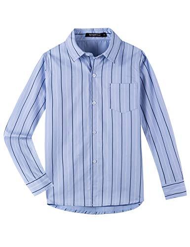 Spring&Gege Camisa de vestir de popelina a cuadros de manga larga para niño