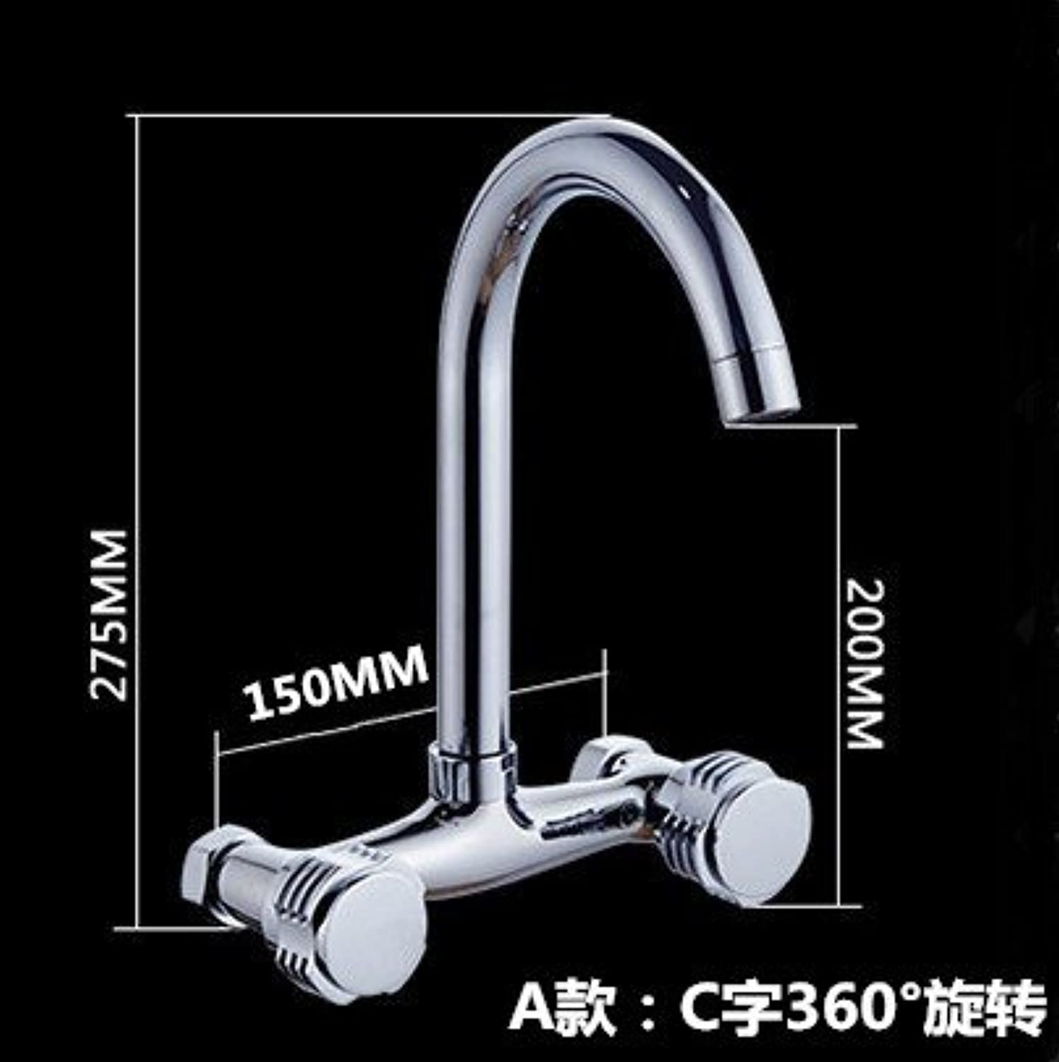 Lpophy Bathroom Sink Mixer Taps Faucet Bath Waterfall Cold and Hot Water Tap for Washroom Bathroom and Kitchen Copper in-Wall Wall Hot and Cold Water Double Hole A
